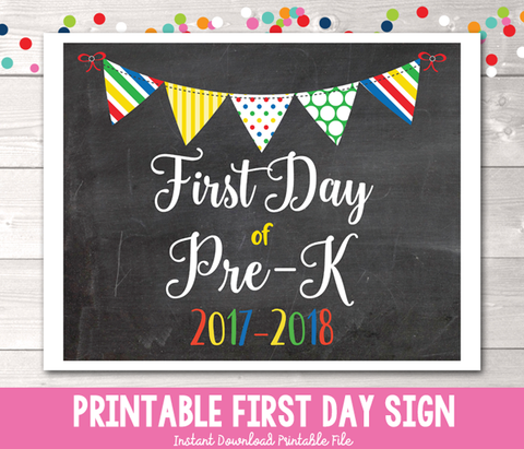 First Day of Pre-K Sign Printable PDF in Primary Colors