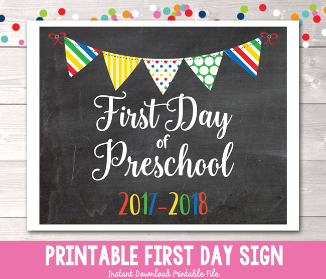 First Day of Preschool Sign Printable PDF in Primary Colors