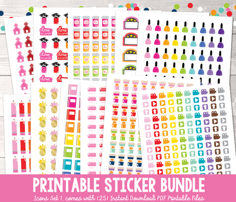 Printable Planner Stickers Bundle Functional Icons Set 1
