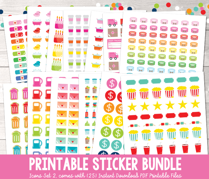 Printable Planner Stickers Bundle Icons Set 2