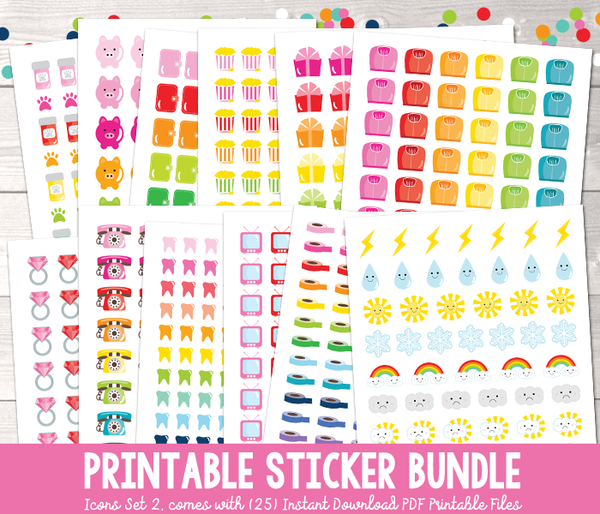 Printable Planner Stickers Bundle Set Two