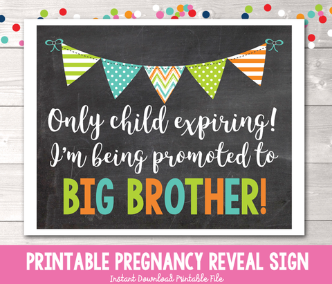 Promoted to Big Brother Pregnancy Reveal Photo Prop Chalkboard Sign Instant Download PDF