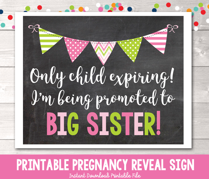 Promoted to Big Sister Pregnancy Reveal Photo Prop Chalkboard Sign Instant Download PDF