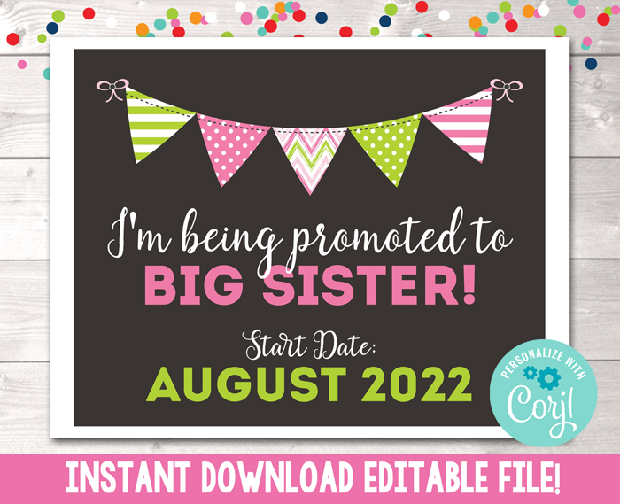 Editable Promoted to Big Sister Pregnancy Reveal Announcement Instant Download