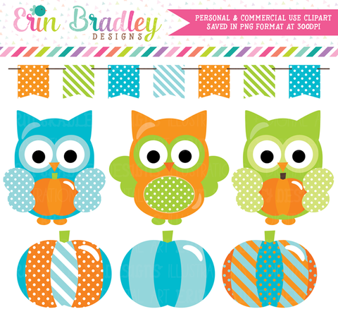 Blue Pumpkin Owl Commercial Use Clipart