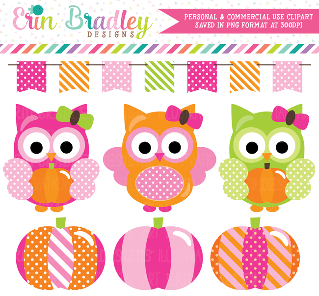 Pink Pumpkin Owl Commercial Use Clipart