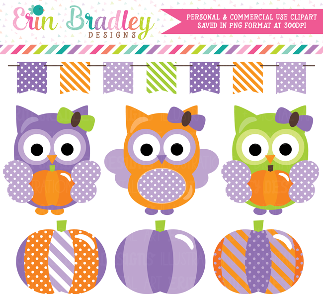 Purple Pumpkin Owl Commercial Use Clipart