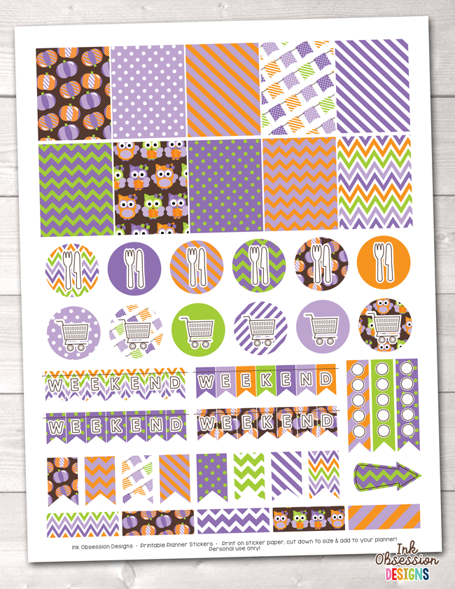 Pumpkin Owls Purple Printable Planner Stickers Instant Download PDF