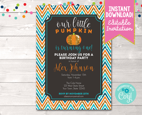Editable Pumpkin Glittery Blue Birthday Party Invitation Instant Download Digital File