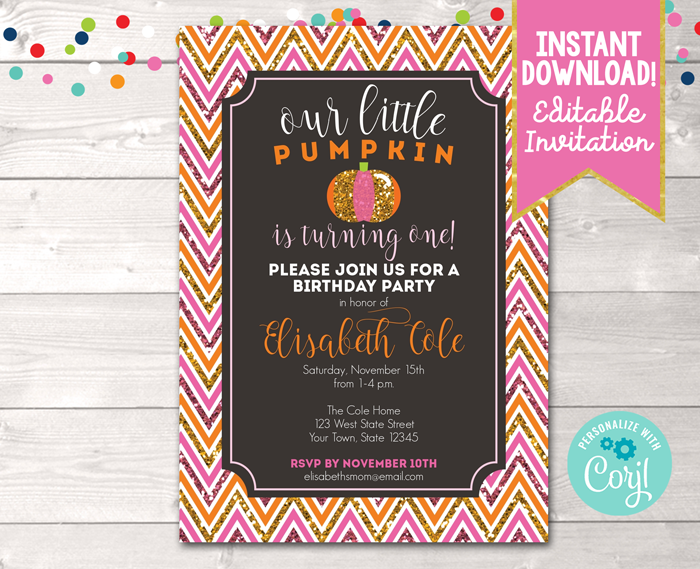 Editable Pumpkin Glittery Pink Birthday Party Invitation Instant Download Digital File