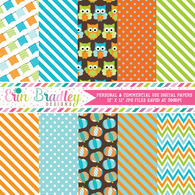 Pumpkin Owls Blue Digital Papers