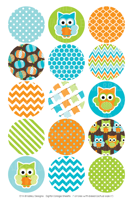 Pumpkin Owl Blue Digital Bottle Cap Images