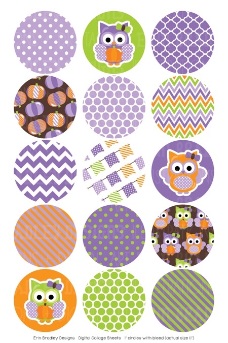 Pumpkin Owl Purple Digital Bottle Cap Images