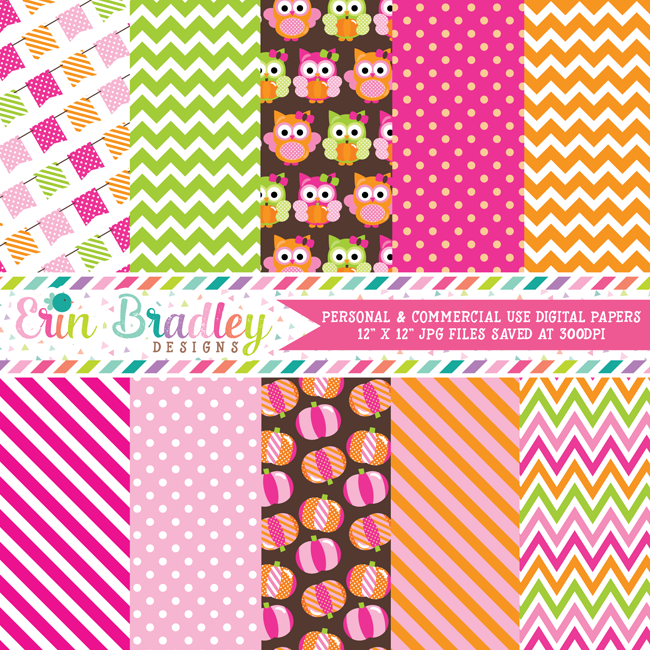 Pumpkin Owls Pink Digital Papers