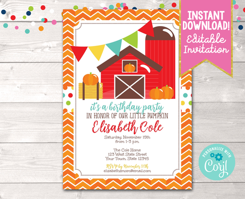 Editable Pumpkin Patch Birthday Party Invitation Instant Download Digital File
