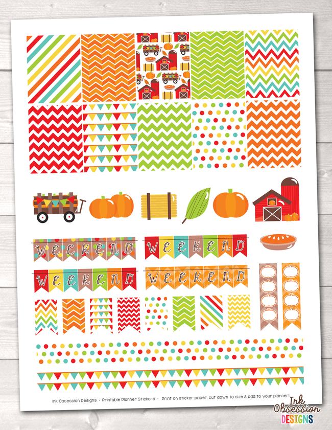 Pumpkin Patch Printable Planner Stickers Weekly Kit