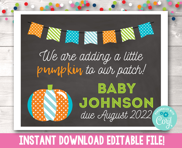 Editable Pumpkin Patch Pregnancy Reveal Sign in Blue Instant Download