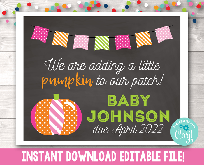 Editable Pumpkin Patch Pregnancy Reveal Sign in Pink Instant Download PDF or JPG
