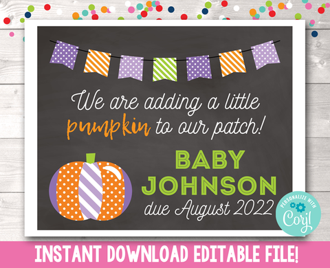 Editable Pumpkin Patch Pregnancy Reveal Sign in Purple Instant Download