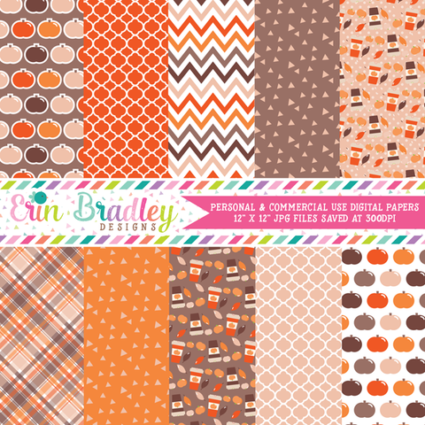 Pumpkin Season Orange Digital Papers