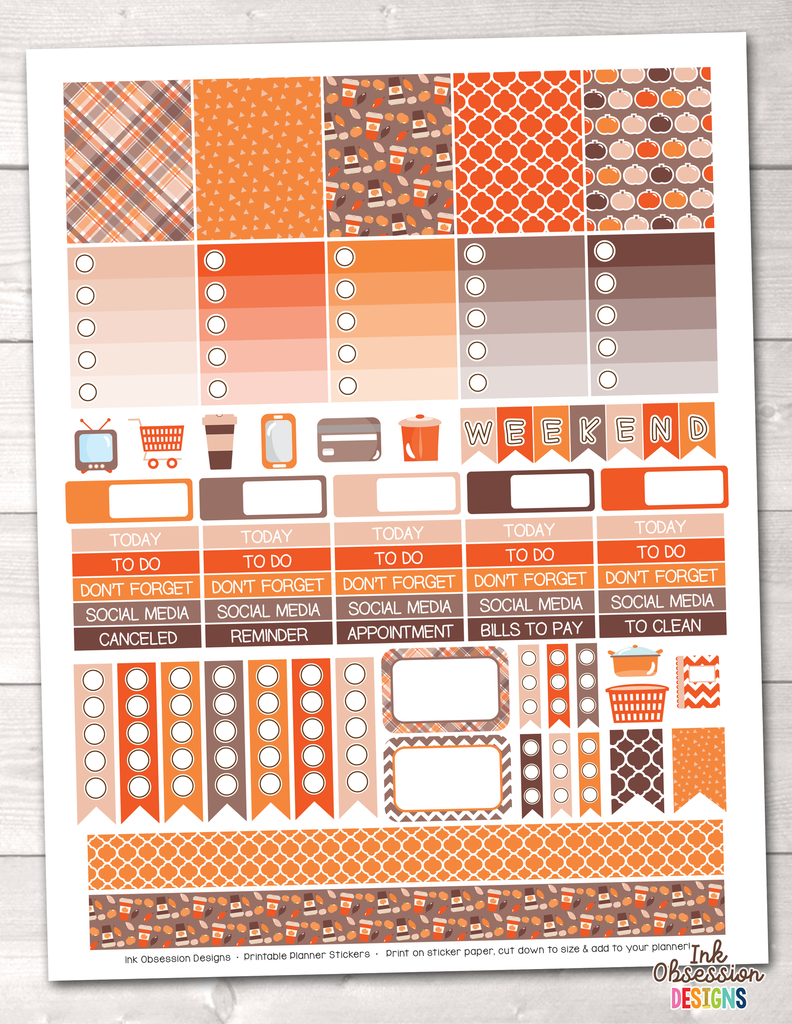 Pumpkin Season Orange Printable Planner Stickers