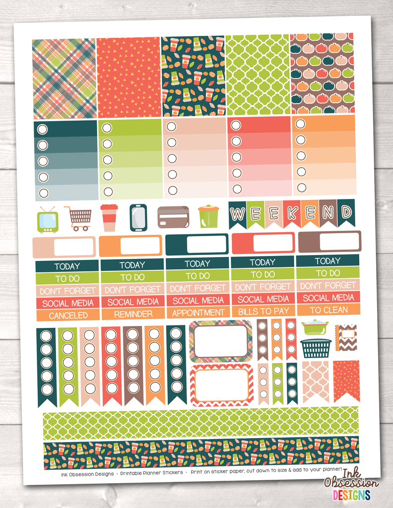 Pumpkin Season Printable Planner Stickers Weekly Kit