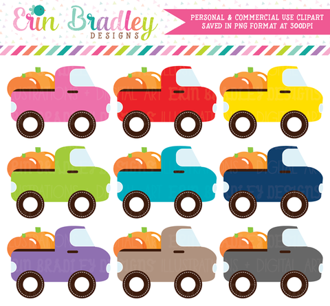 Pumpkin Truck Clipart Set