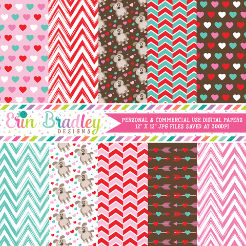 Puppy Love Digital Paper Pack