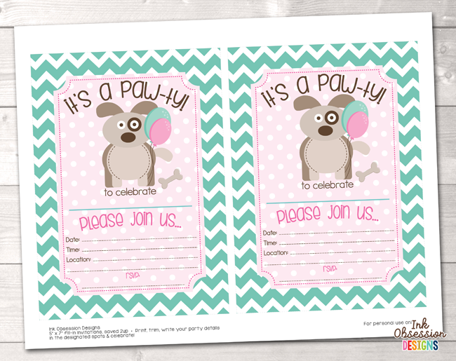 Girls Puppy Dog Party Printable Birthday Invitation