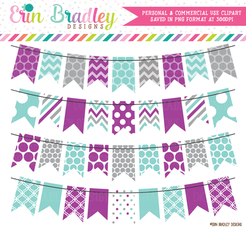 Winter Banner Flag Clipart in Purple Blue Gray