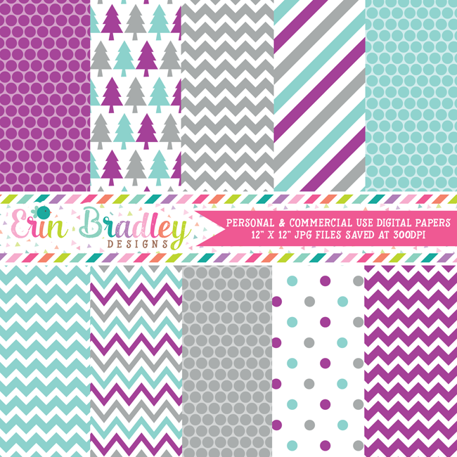 Purple Blue Gray Winter Digital Paper Pack