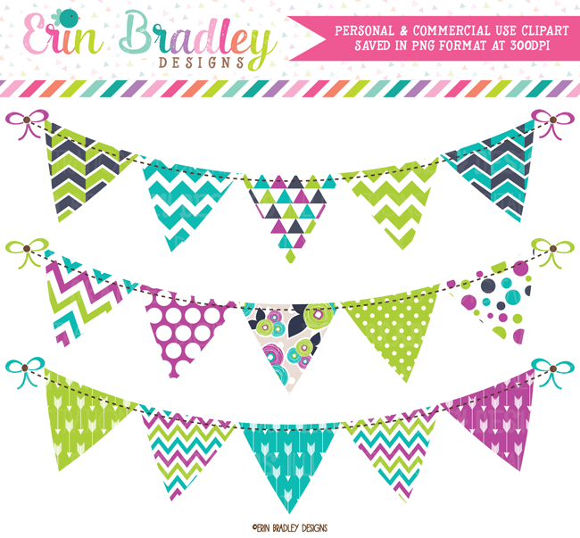 Purple Teal and Green Bunting Clipart