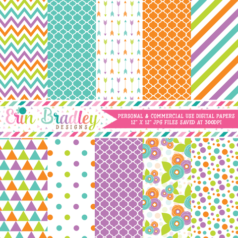 Purple Blue Green Orange Digital Paper Pack