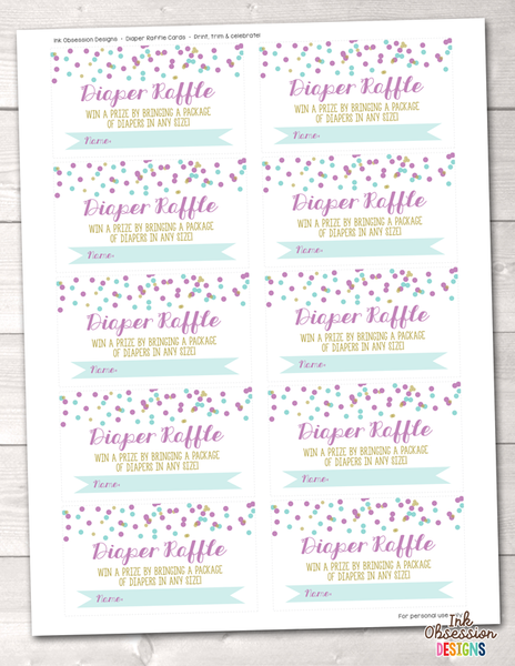 Purple and Blue Confetti Dots Printable Diaper Raffle Ticket
