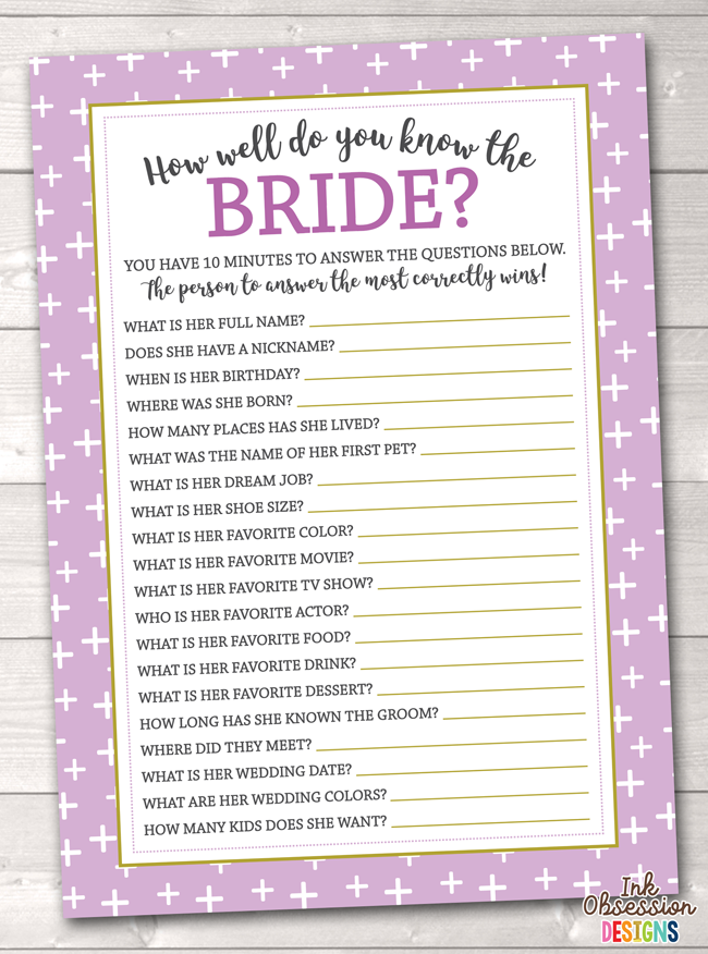 picture about Printable Bridal Shower Game titled Red Crosses How Very well Do Your self Realize the Bride Printable Bridal Shower Recreation