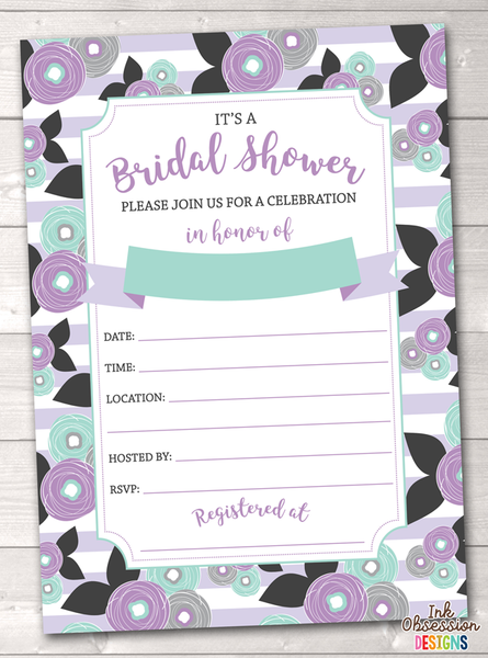 Purple Floral Bridal Shower Invitation Printable PDF