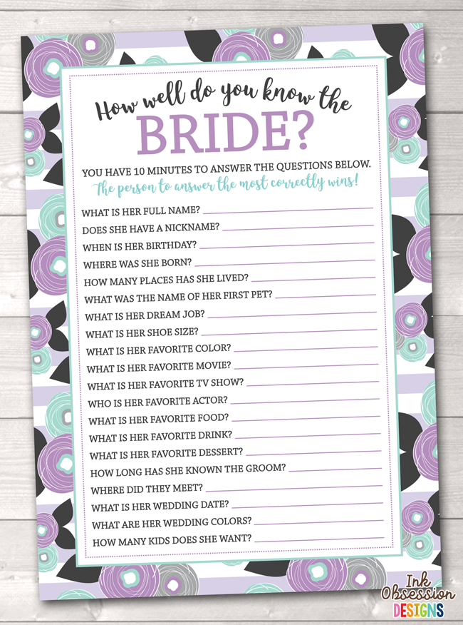 picture relating to Printable Bridal Shower Game identified as Pink Floral How Nicely Do Oneself Recognize the Bride Printable Bridal Shower Recreation