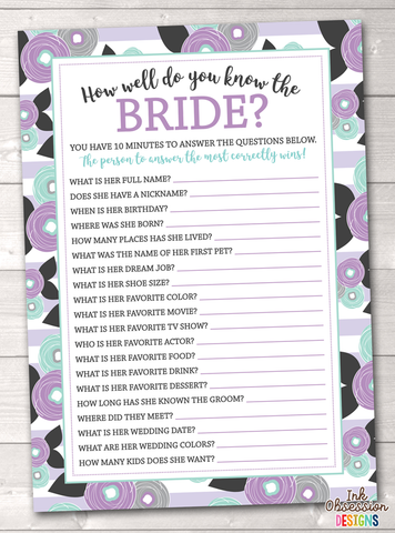 Purple Floral How Well Do You Know the Bride Printable Bridal Shower Game