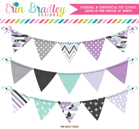 Purple Florals Bunting Banner Flag Clipart