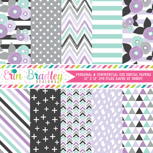 Purple Florals Digital Paper Pack