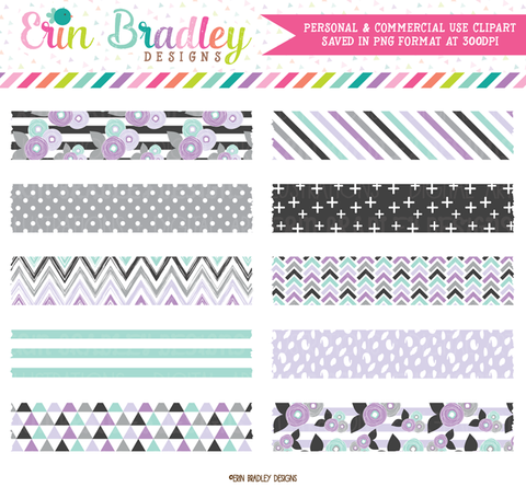 Purple Florals Digital Washi Tape Clipart