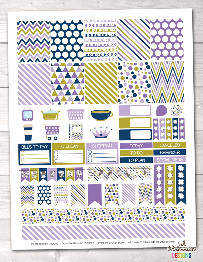 Purple Gold Navy Blue Printable Planner Stickers Weekly Kit
