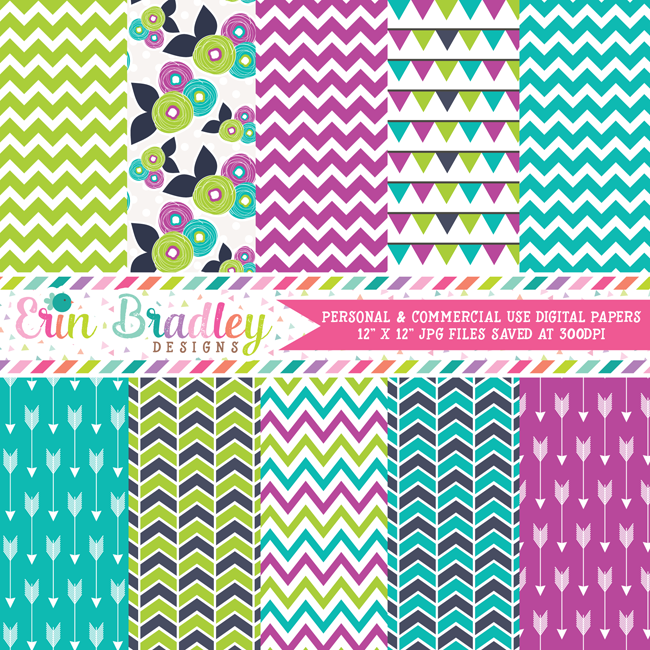 Purple Green Blue Digital Paper Pack