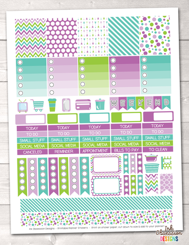 Purple Green Blue Printable Planner Stickers Weekly Kit