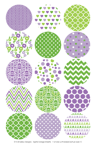 Purple and Green Digital Bottle Cap Images