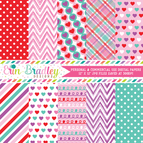 Purple Love Valentines Day Digital Paper Pack