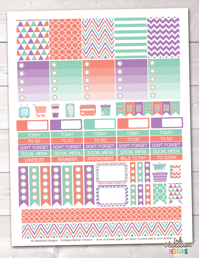 Purple Orange Aqua Printable Planner Stickers Weekly Kit