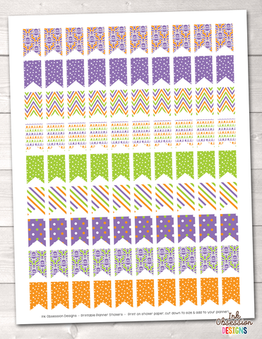 Purple Orange Green Flags Printable Planner Stickers