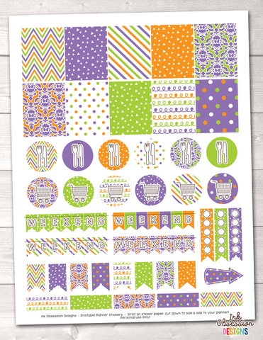 Purple Orange Green Printable Planner Stickers Weekly Kit