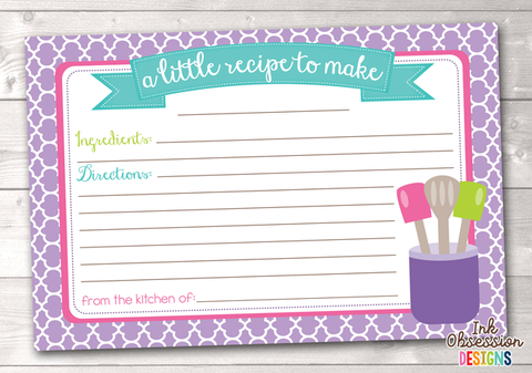 Purple Quatrefoil Printable Recipe Cards